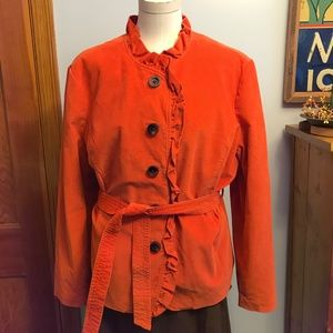 New L.L. Bean Orange corduroy belted jacket/blazer